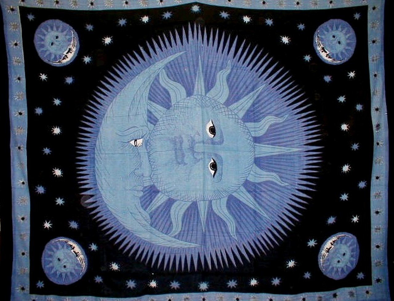 Celestial Tapestry Cotton Bedspread 108'' x 88'' Full-Queen Blue