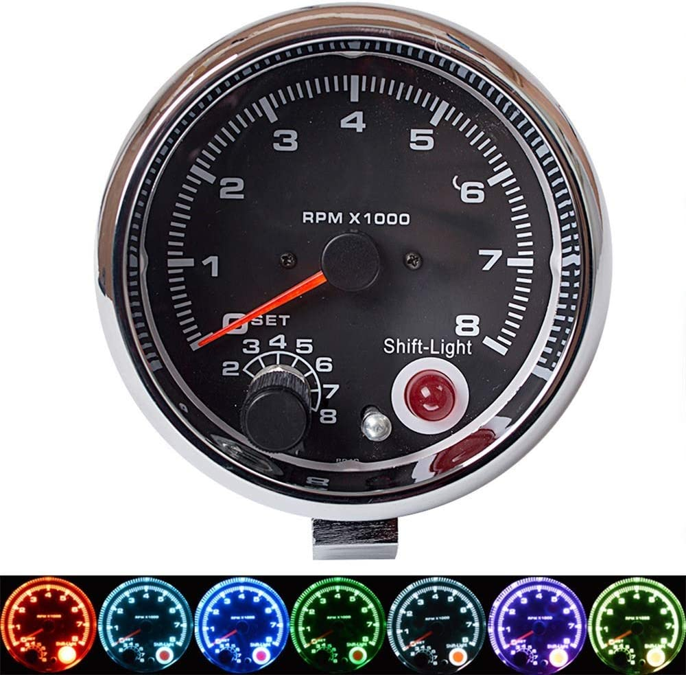 Modified Cars Ships Luckya Instrument Panel 3.75 Inch 7 Color Adjustable Car Modification Tachometer 12V Car Universal Tachometer 0~8/×1000rpm for Engines