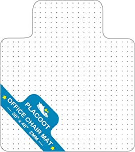 """Chair Mat for Carpet with Lip Studs Strong Impact Resistance Effective Grip Durable Non-Slip Easy to Clean PVC Carpet Protector 36"""" x 48"""" for Home Office"""
