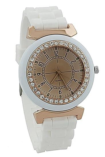 Geneva para Mujer Silicona Cristal Piedra Cuarzo Reloj de pulsera (Blanco)