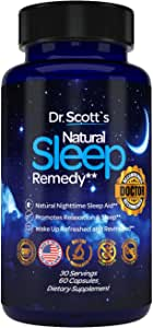 Dr. Scott's Natural Sleep Aid   from Sleeplessness to Restfulness with 5 Mg Melatonin, Theanine, Magnesium, Tryptophan, Valerian Root   Natural Sleeping Pills   Non-Habit Forming Sleeping Supplement