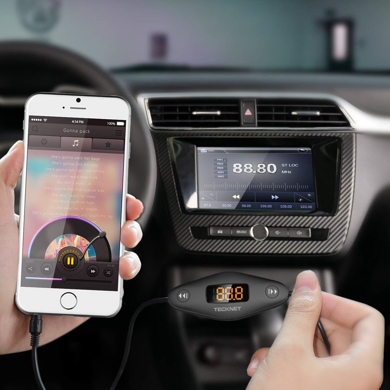 Samsung TECKNET FM Transmitter Auto Radio KFZ Transmitter mit LED Frequenz Display Mp3 3.5mm Stecker Tablets und Alle Audio Ger/äte USB Port Auto-Ladeger/ät f/ür iPhone