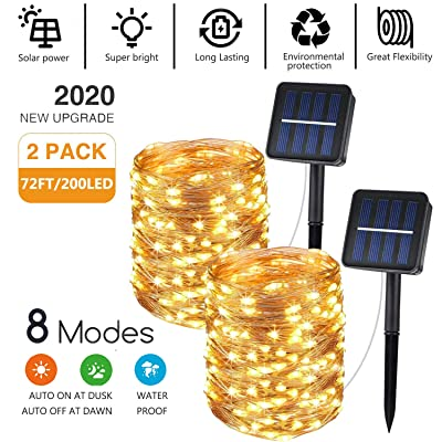 Jetencn Solar Powered String Lights - 2 Pack 72ft 400LED 8 Modes Starry Fairy Copper Wire String Lights Outdoor Waterproof Upgraded for Patio Garden Yard Trees Christmas Wedding (Warm White) : Garden & Outdoor