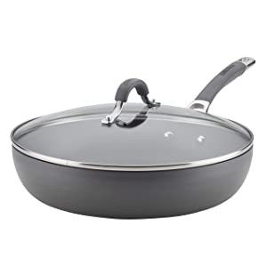 Circulon Radiance Hard-Anodized Nonstick Covered Deep Skillet, 12-Inch, Gray