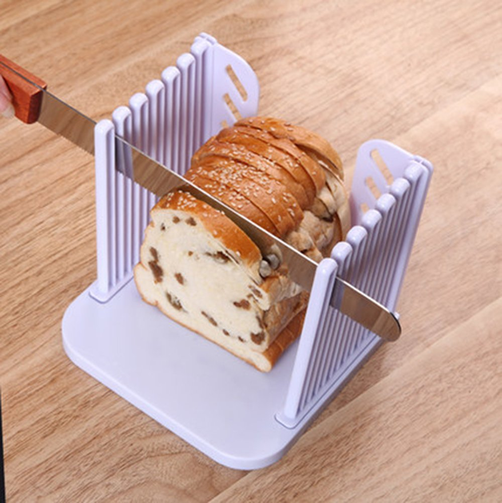 Vangoddy Foldable Adjustable Compact Bread Cutter Toast Slicer (White) Maggie