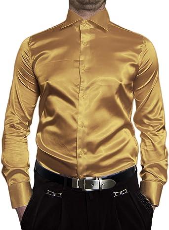 Camisa entallada de manga larga para hombre, satinada, color negro, blanco, azul, rosa, gris, dorado, amarillo, plateado, turquesa, beige, marrón, cian, lila, violeta y verde: Amazon.es: Ropa y accesorios