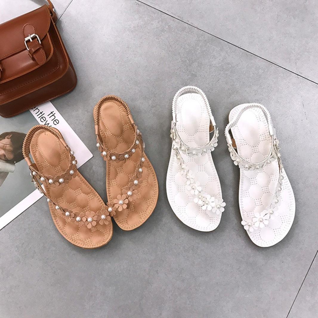 Manadlian Zapatos de mujer de verano Sandalias planas Bohemia Cuentas de flores Zapatillas Flip-flop CN 35, Blanco Sandalias mujer