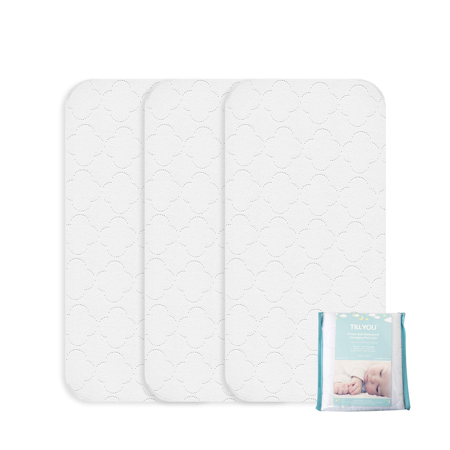 TILLYOU Quilted Thick Changing Pad Liners Waterproof, Ultra Soft Breathable Changing Table Cover Liners, 11.5' X 23' Washable Reusable Changing Mats Sheet Protector, 3 Pack 11.5 X 23 Washable Reusable Changing Mats Sheet Protector Smile Textile