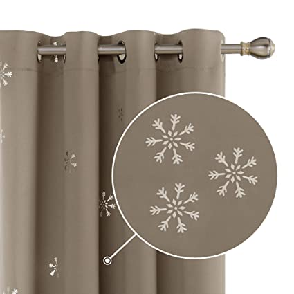 Deconovo Lot de 2 Rideaux Souple Isolant Thermique Rideaux Motif Point pour Chambre Enfant /à oeillet 140x175cm Taupe
