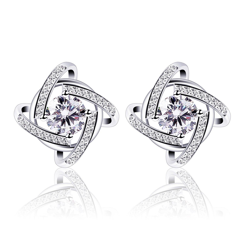 B.Catcher Stud Earrings Windmill Shape Cubic Zirconia 925 Sterling Silver Earrings BC-27