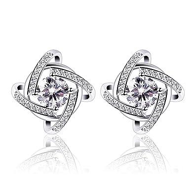 B.Catcher Stud Earrings Windmill Shape Cubic Zirconia 925 Sterling Silver Earrings De90Xzb