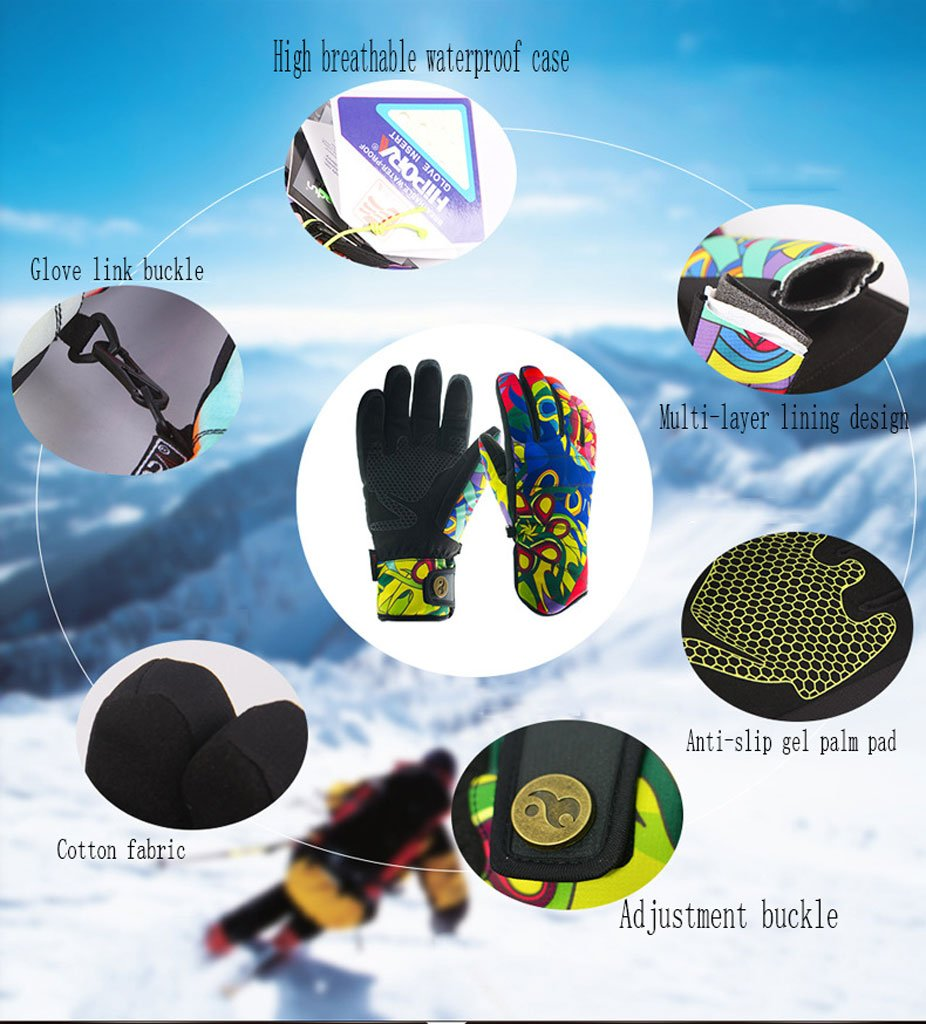 Amazon.com: HKJCC Snowboard Windproof Waterproof Non-Slip Ski Gloves Warm Mitten,L: Home & Kitchen