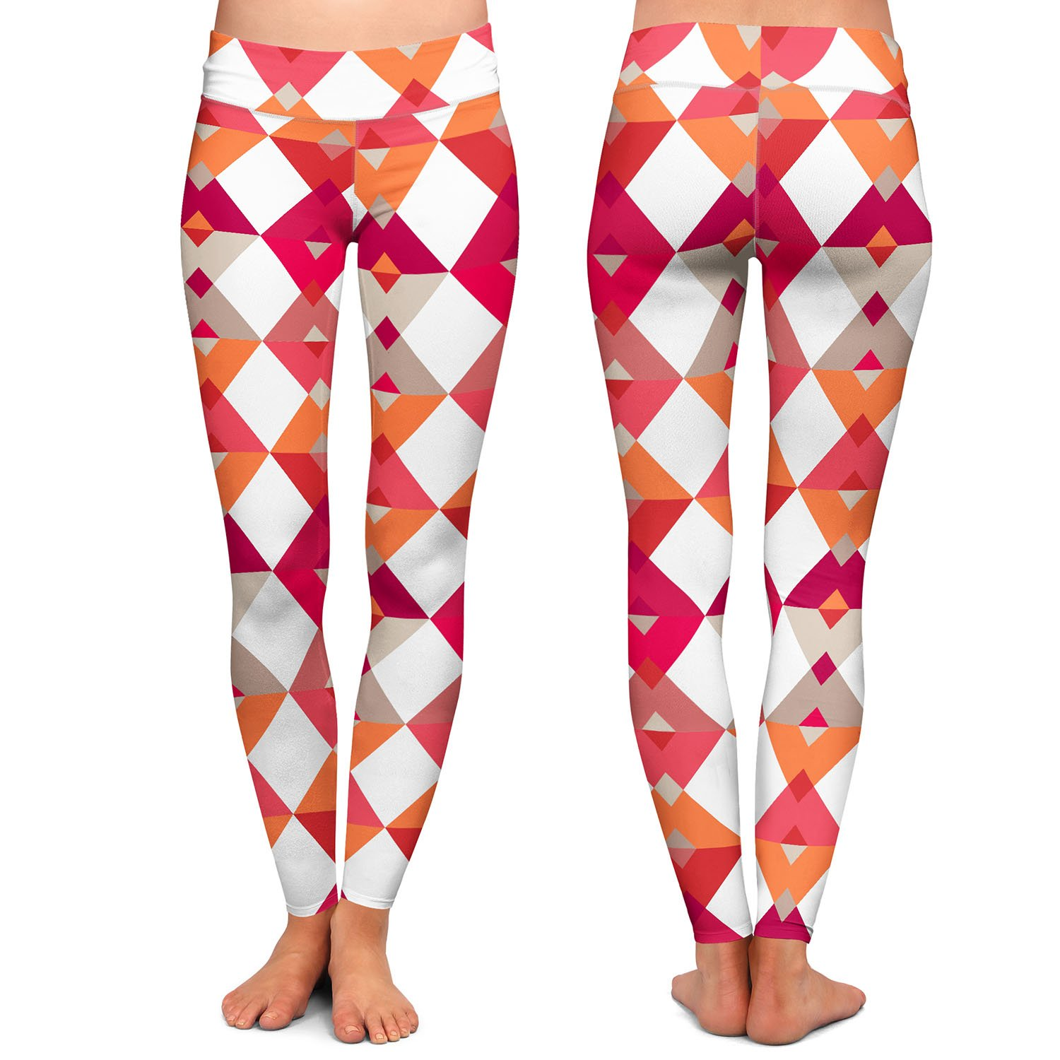 Triangles Red Athletic Yoga Leggings from DiaNoche Designs by Julia Grifol
