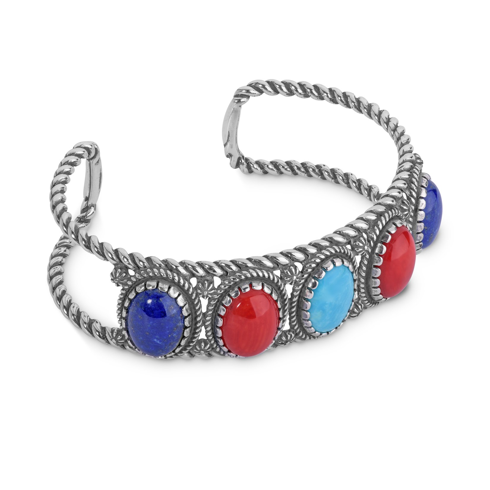 925 Silver & Five Stone Lapis, Red Coral, Turquoise Cuff Bracelet - Medium