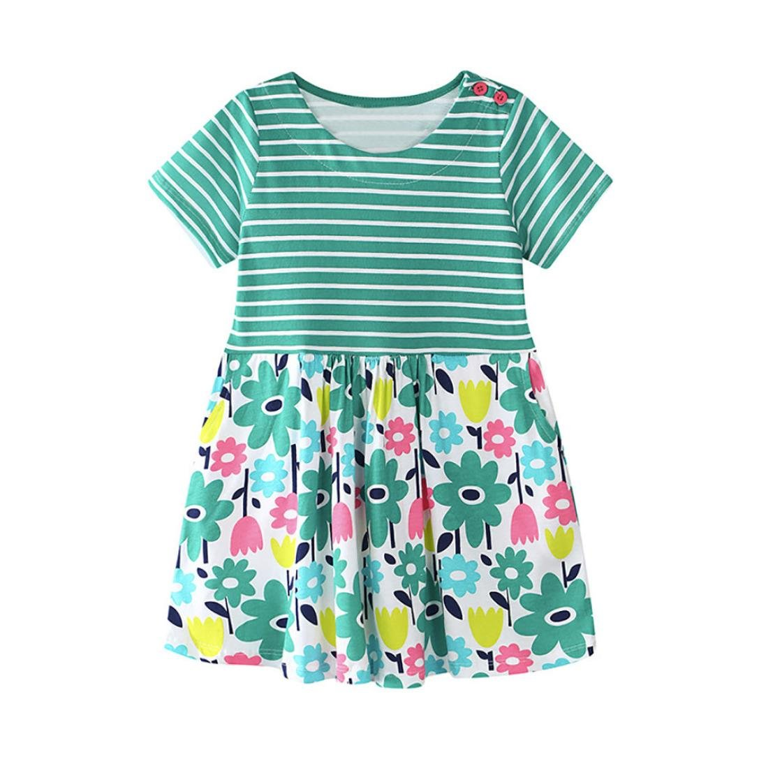 Alalaso Baby Kid Girl Floral Pattern Dress Sundress Outfit Clothes (90, Green)