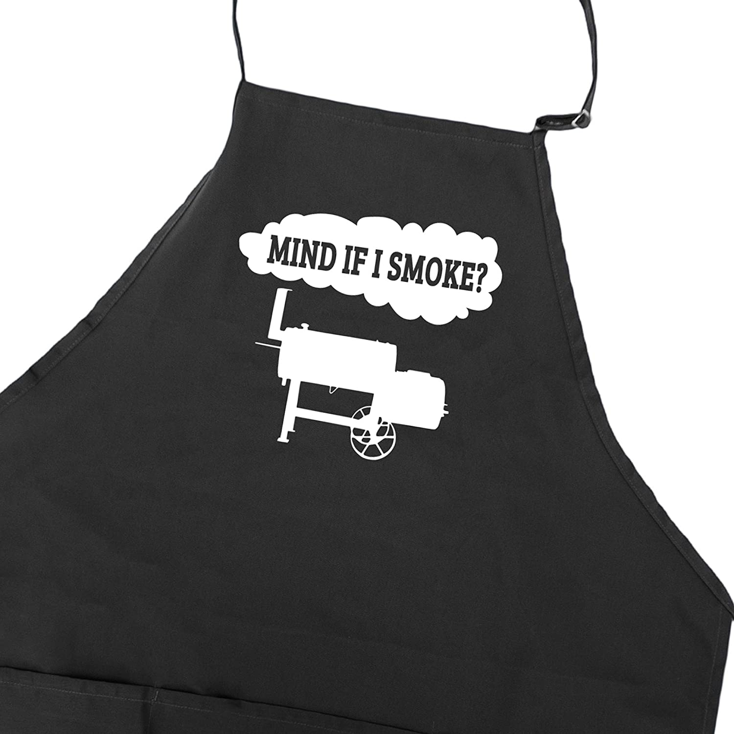 Funny BBQ Grill Apron for Men With Pockets Barbeque Meat Smoking Accessory Fathers Day Gift Idea for Dad Mind If I Smoke Offset Smoker
