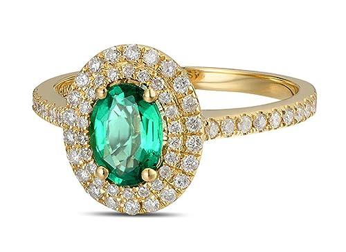 Epinki 18k Oro Anillos para Mujer óvalo Anillo de Diamante Anillos Compromiso con Blanco Verde Diamante Esmeralda: Amazon.es: Joyería