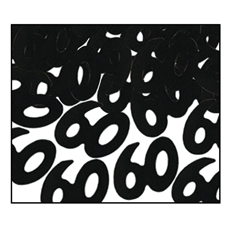 Party Central Club Pack of 12 Black Fanci-Fetti 60'' Celebration Confetti Bags 0.5 oz.