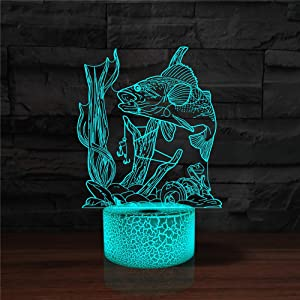YKLWORLD 3D Fishing Lamp Illusion Night Light LED Fish Desk Table Lamps 7 Color Change Touch Control USB Charging/Battery Power Visual Lights Home Bedroom Decor for Men Fishing Lover Birthday Gifts