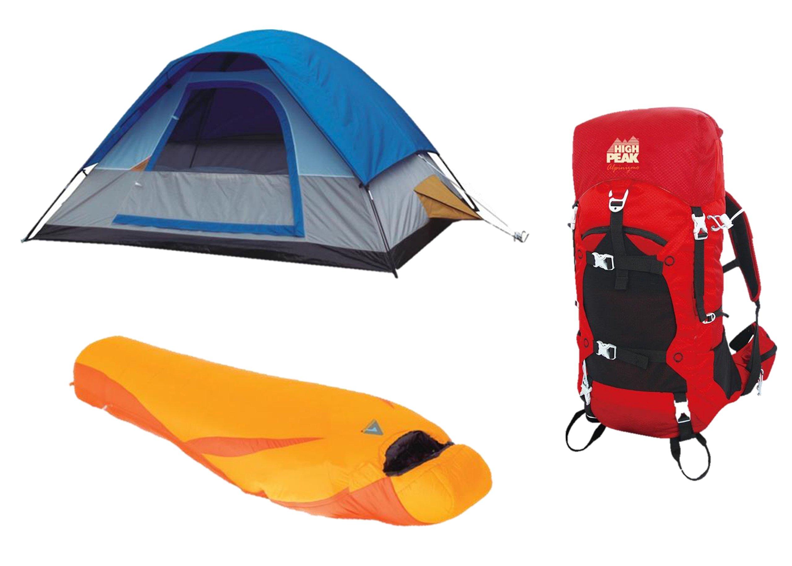 Alpinizmo-High-Peak-USA-Ultra-Lite-0F-Sleeping-Bag-5-Men-Tent-40-Liter-Pack-RedOrangeBlue-One-Size