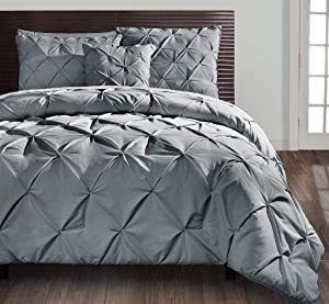 VCNY Home Queen Size Comforter Set in Grey Posh Pintuck 4 Pc Set w/Decorative Pillows
