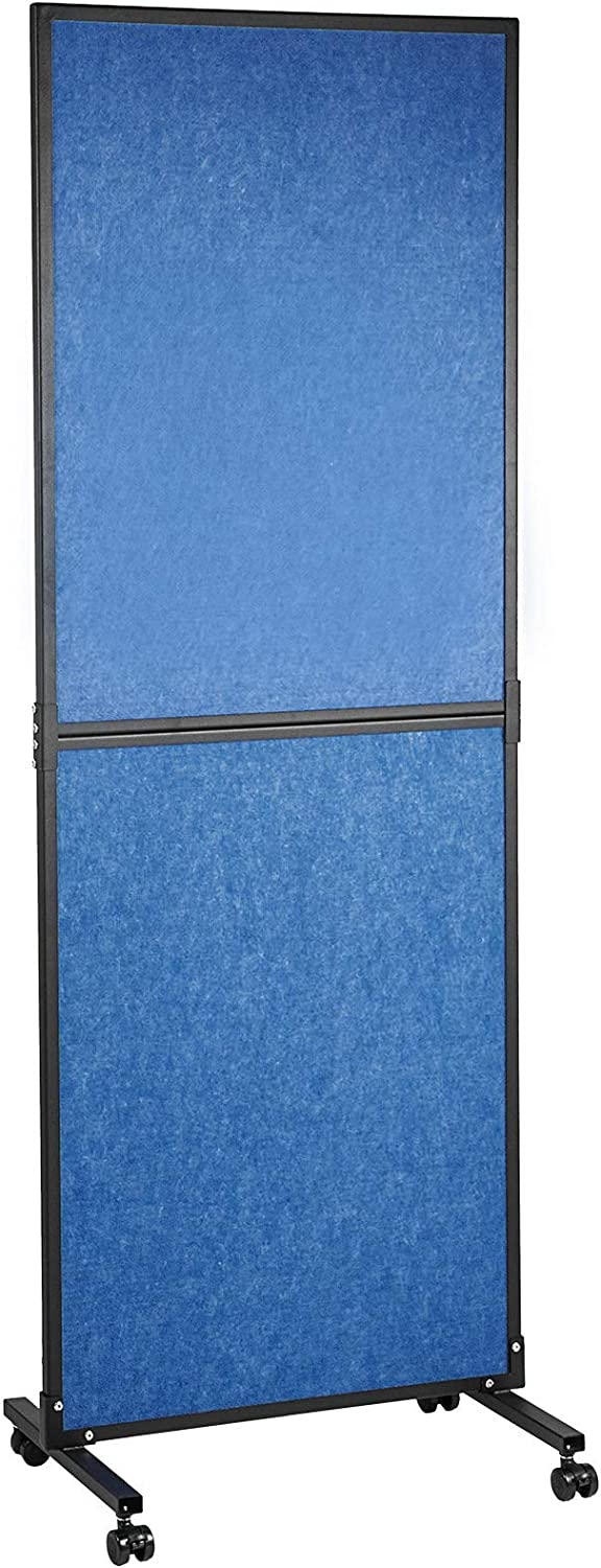 """VEVOR Acoustic Room Divider,24""""x66"""" Office Partition Office Divider Wall,Freestanding Office Dividers Partition Wall,Single Cubicle Wall Polyester and Carbon Alloy for Office & Classroom,Dark Blue"""