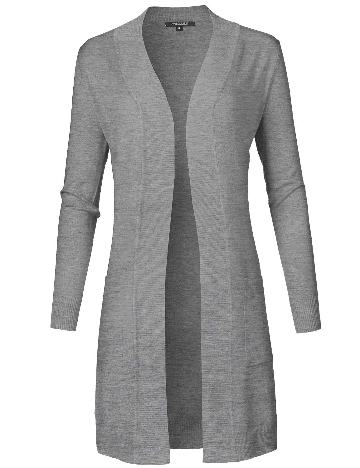 Awesome21 Solid Soft Stretch Long Sleeve Open Front Knit Cardigan Heather Gray S