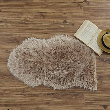 Ojia Faux Sheepskin Fur Rug Soft Fluffy Carpets Chair Couch Cover Seat Area Rugs for Bedroom Sofa Floor Living Room(2 x 3ft, Light Coffee)