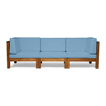 Admirable Great Deal Furniture Keith Outdoor Sectional Sofa Set 3 Seater Acacia Wood Water Resistant Cushions Teak And Blue Short Links Chair Design For Home Short Linksinfo