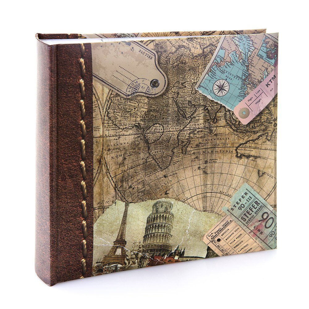 Kenro, HOL118, album fotografico collezione Holiday and Travel, motivo con antica mappa geografica del mondo, per 200foto,dimensioni 15,2x 10,2cm (l x h), 6 x 4 6 x 4