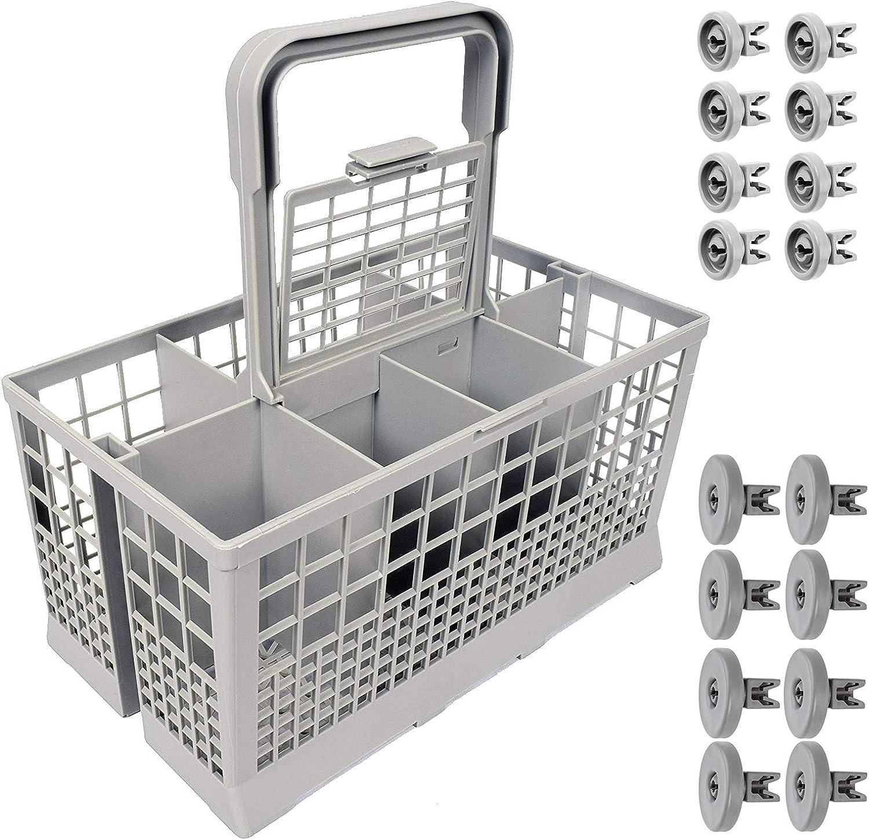 Lummar - Juego de cubiertos para lavavajillas universal, compatible con los modelos Rex Electrolux Techna Zanussi Aeg Favourite Privilege Bosch + juego de 16 ruedas cesta superior + cesta inferior