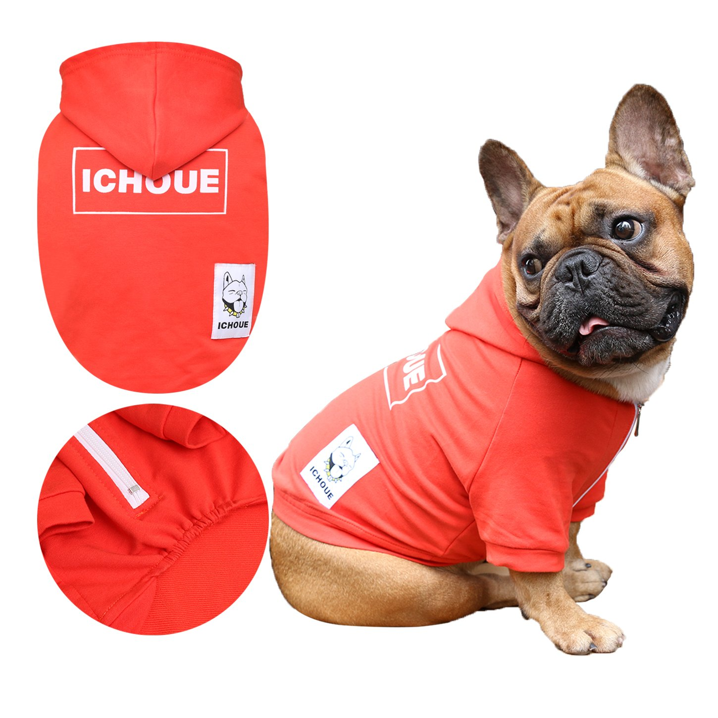iChoue Dog Sweatshirt Hooded Half Zipper Clothing for French Bulldog Pug Shiba Inu Boston Terrier Box Logo Shirt - Red Size M