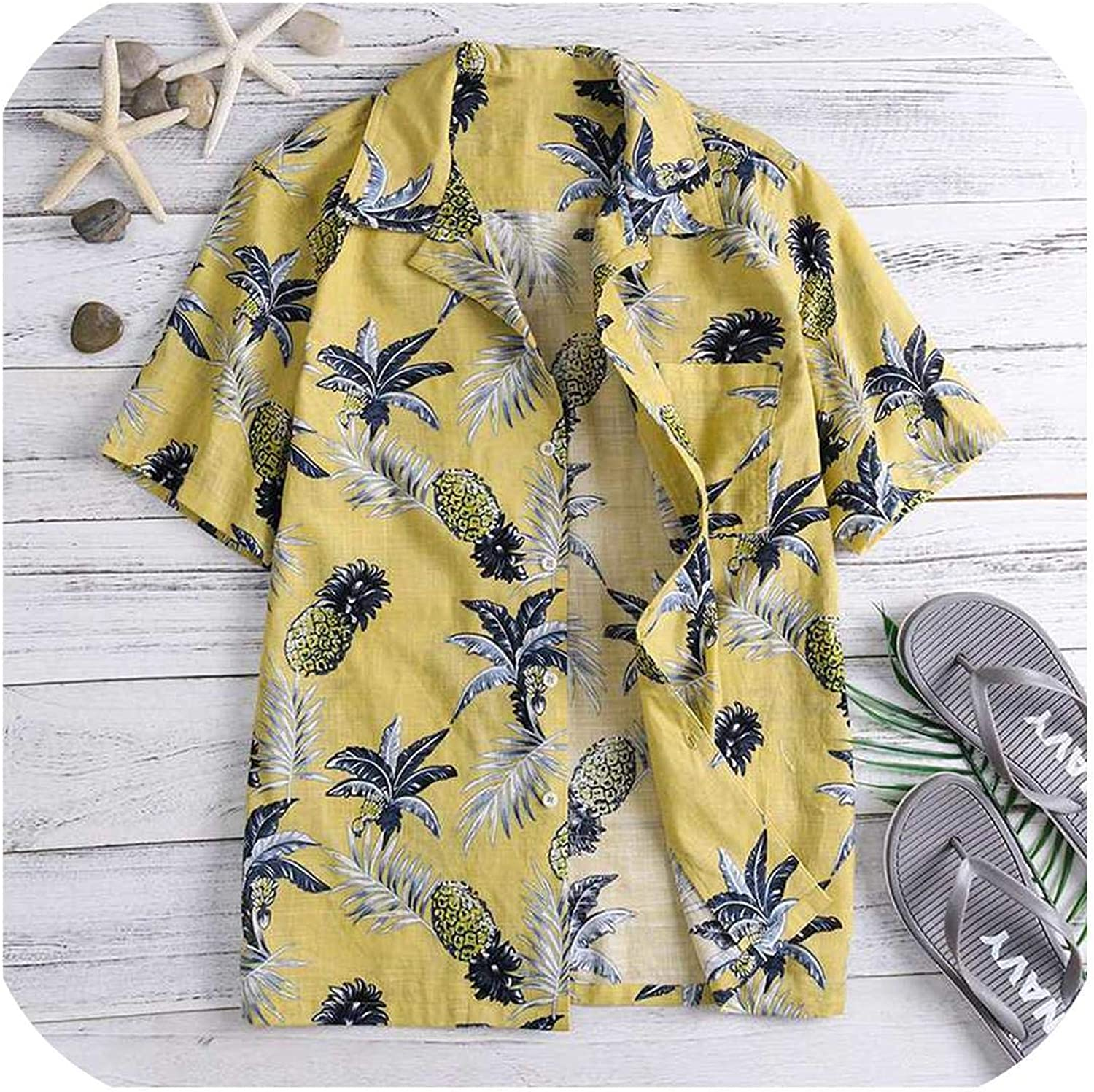 Hawaiian Shirts Tropical Mens Shirts Dress Short Sleeve Lapel Collar Floral Beach Vacation Clothing