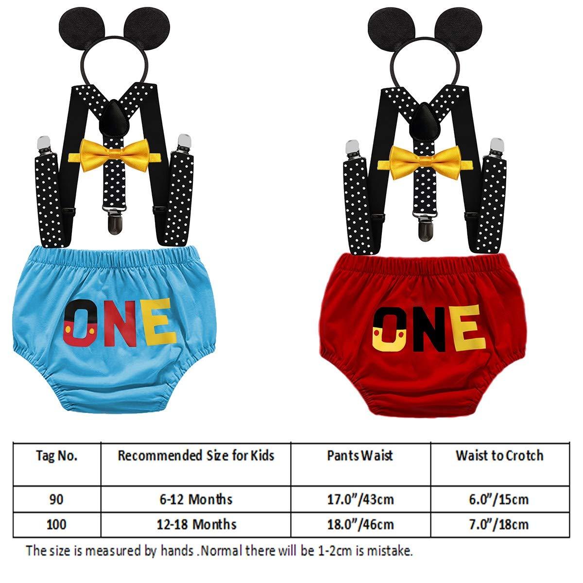 MYRISAM Disfraz de Mickey para Primer cumpleaños - Azul - 6-12 ...