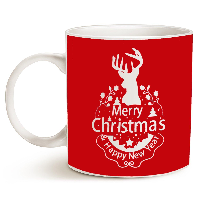 1a42aaf551f Amazon.com: MAUAG Christmas Gifts Holiday Coffee Mug, Wish You a Merry  Christmas and Happy New Year Rangifer Tarandus Ceramic Cup, Red 14Oz:  Kitchen & ...