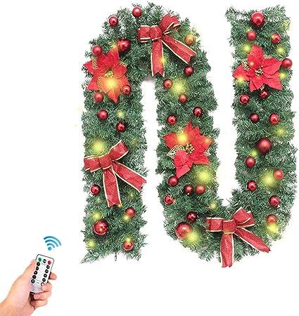 Fansu Guirnalda de Navidad Decoración, Ramas Adornos para Chimeneas Árbol Jardín Corona de Pino con Luz de Navidad Colgante Adornos Artificial 270 cm (2.7m/106inch,2,7 m Rojo más decoración): Amazon.es: Hogar