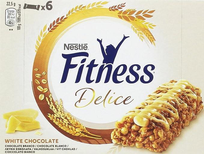 Nestlé Fitness Delice - Barritas de Cereales con chocolate blanco - 6 barritas de cereales (