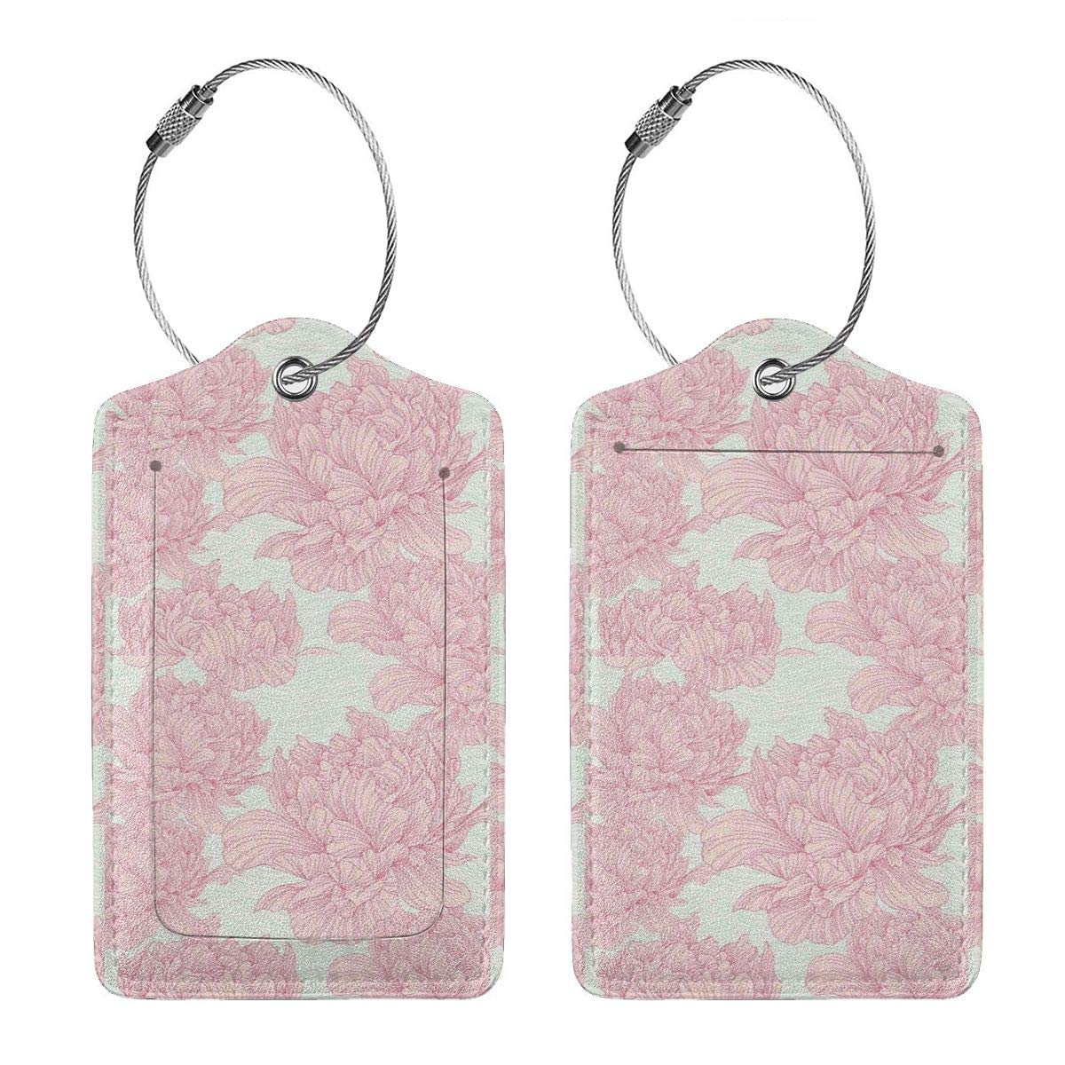 Drawn Peony Flower Leather Luggage Tags Personalized Travel Accessories With Privacy Flap