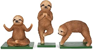 Transpac Yoga Sloth Figurines Set of 3 Sloth's in Yoga Positions New Adorable Fun