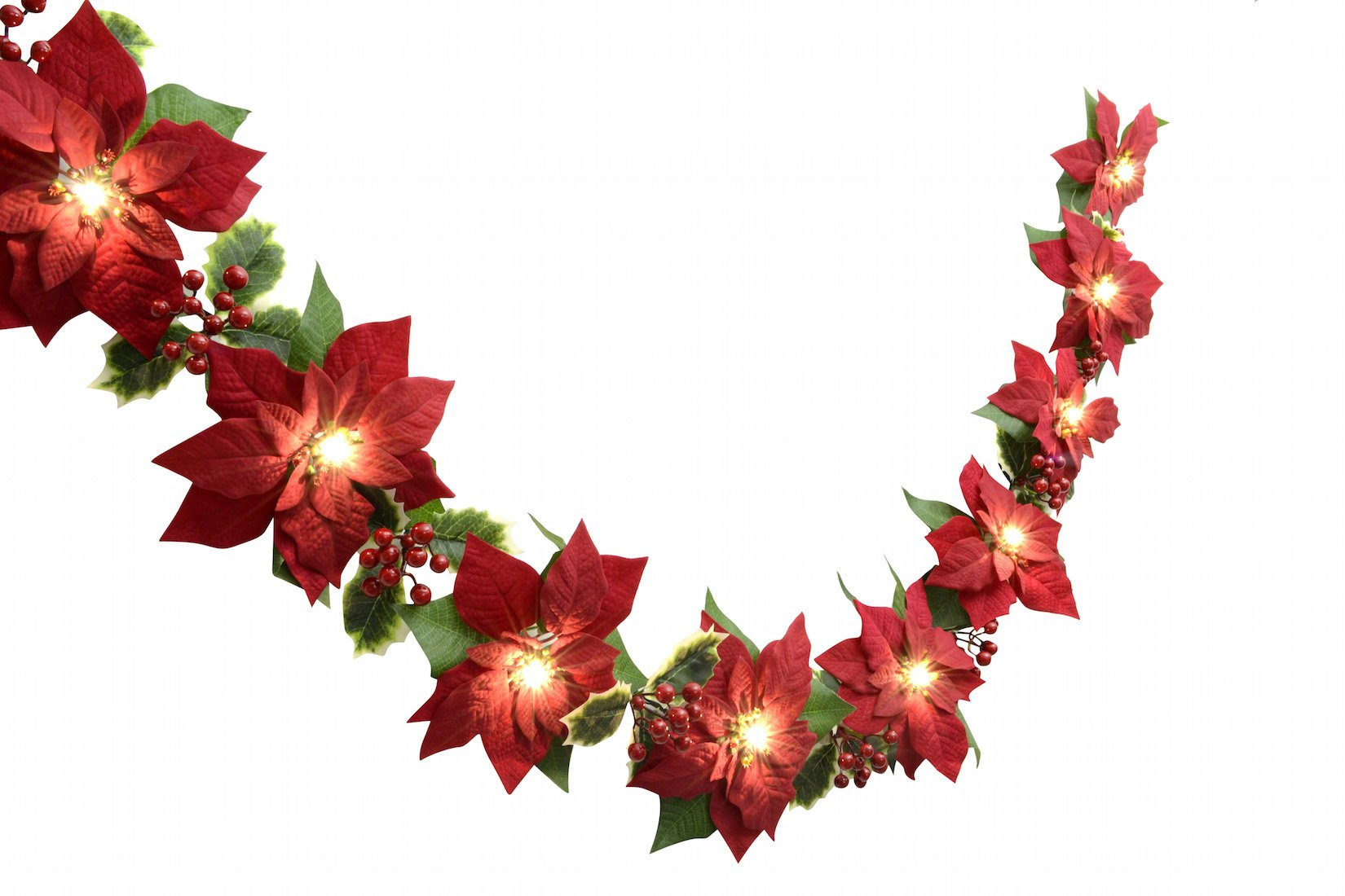 Homeseasons LED Lighted Red Poinsettia Garland with Holly Leaves and Red Berries,6 Feet,Perfect Holiday and Christmas Decoration