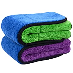 SINLAND Microfiber Car Drying TowelSuper Absorbent car Cleaning Towel and Double-Faced Plush Premium Professional Soft Microfiber Towel 16 x 16 2 Pieces