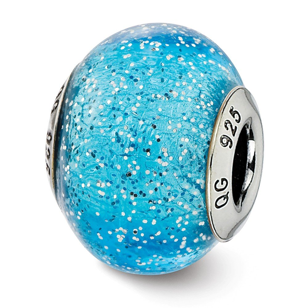 14 x 11 mm Reflection Beads Sterling Silver Light Blue with Silver Glitter Glass Bead
