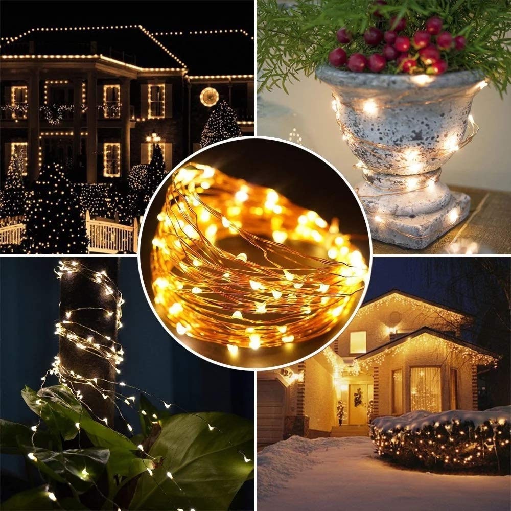 66ft 200 LED Fairy String Lights with UL588 USB Adapter for Bedroom Decor Christmas Patio Halloween Thanksgiving (Warm White)