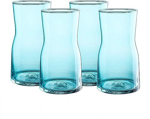 Whole Housewares Decorative Glass Vase 3.7X6.7 inch, Light Blue 4 Pack Set