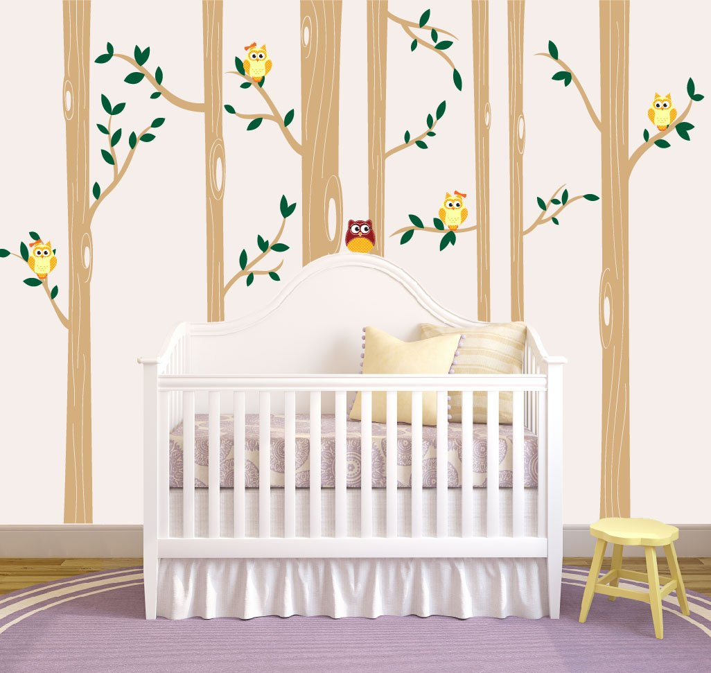Nursery Birch Tree Wall Decal Set With Owl Birds Forest Vinyl Sticker, Birch Tree Wall Decal, Birch Tree Decal Baby Boy Whimsical Owls (7 trees) #1321 (108'' (9ft) Tall, Custom - Contact Us)