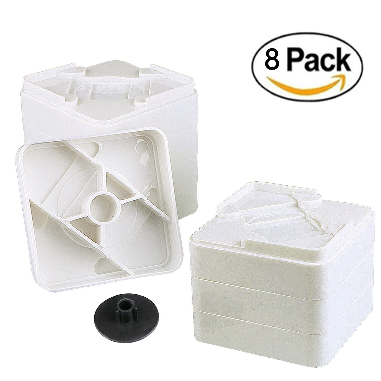 Adjustable Furniture Risers - Bed Riser, Table Riser, Chair Riser or Sofa Riser - 8 Pack, Aunifun (White)