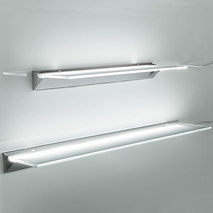 Mensole In Vetro Con Led.So Tech Led Mensola Illuminata Sara Colore Luce Bianco Neutro 4000k Ripiano Illuminato Lampada Ripiano In Vetro 1200 Mm Classe Energetica A