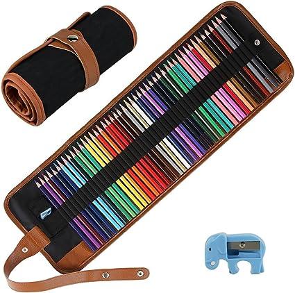 E-More kit de lapices pices de colores de, 50 lapices de colores pices para colorear, dibujar, profesionales set de lapices lapices: Amazon.es: Oficina y papelería