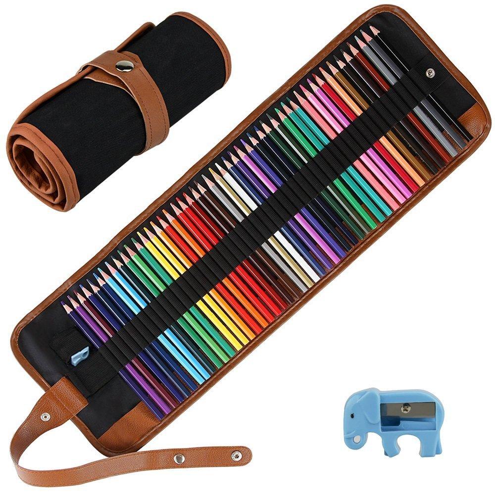 E-More, set di 50 matite colorate da disegno artistico con custodia in tela arrotolabile e temperamatite, per schizzi e disegni