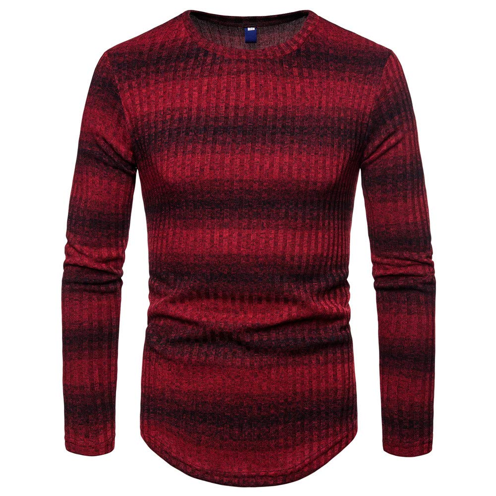 WEUIE Clearance Mens Tops Men Gradient Stripe Winter Pullover Knitted Top Striped Sweater Outwear Blouses(XL, Red)
